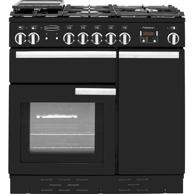 Rangemaster Professional Plus PROP90DFFGB/C 90cm Dual Fuel Range Cooker - Black / Chrome - A/A Rated - PROP90DFFGB/C_BK - 1