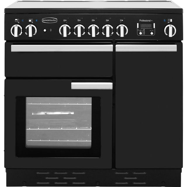 Rangemaster Professional Plus 90cm Electric Range Cooker with Ceramic Hob - Black - A Rated