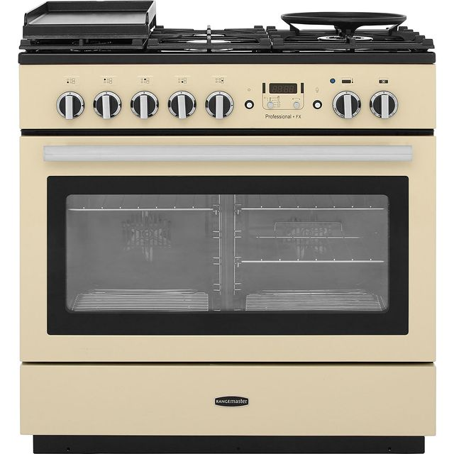 Rangemaster Professional Plus FX PROP90FXDFFCR/C 90cm Dual Fuel Range Cooker - Cream / Chrome - A Rated