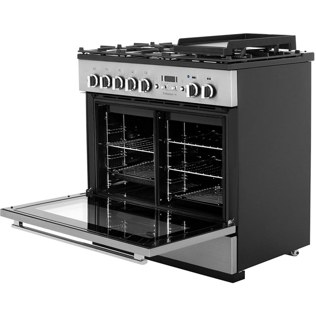 Rangemaster PROP90FXDFFCY/C Professional Plus FX 90cm Dual Fuel Range Cooker - Cranberry / Chrome - PROP90FXDFFCY/C_CY - 4