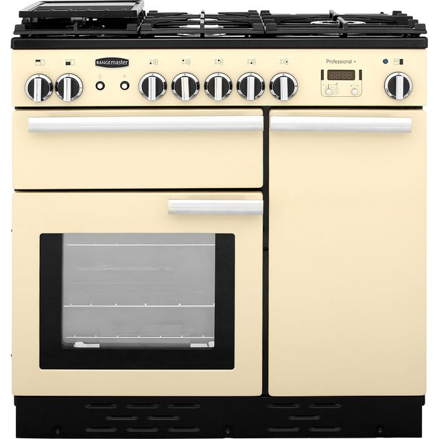 Rangemaster Professional Plus PROP90NGFCR/C 90cm Gas Range Cooker with Electric Fan Oven - Cream - A/A Rated - PROP90NGFCR/C_CR - 1