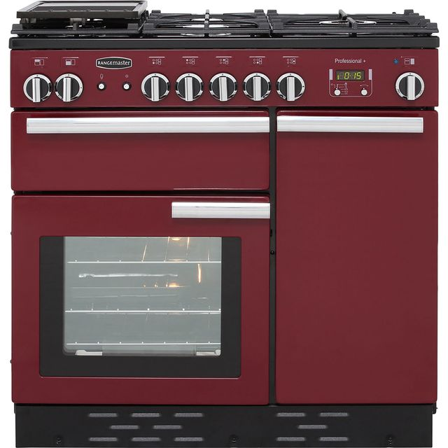 Rangemaster Professional Plus PROP90NGFCY/C 90cm Gas Range Cooker with Electric Fan Oven - Cranberry - A+/A Rated - PROP90NGFCY/C_CB - 1