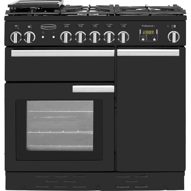 Rangemaster Professional Plus PROP90NGFGB/C 90cm Gas Range Cooker with Electric Fan Oven - Black - A/A Rated - PROP90NGFGB/C_BK - 1