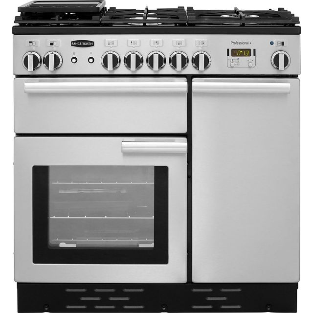 Rangemaster Professional Plus PROP90NGFSS/C 90cm Gas Range Cooker with Electric Fan Oven - Stainless Steel - A/A Rated - PROP90NGFSS/C_SS - 1