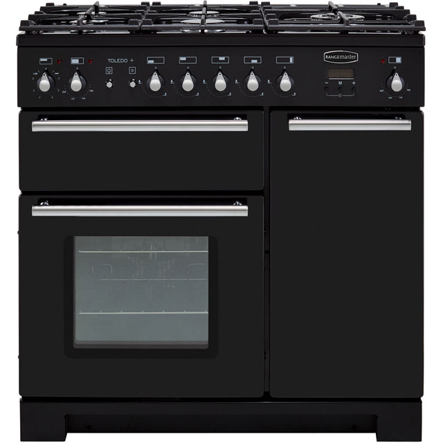 Rangemaster Toledo + TOLP90DFFGB/C 90cm Dual Fuel Range Cooker - Black / Chrome - A/A Rated - TOLP90DFFGB/C_BK - 1