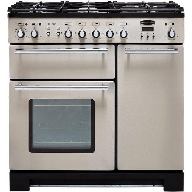 Rangemaster Toledo + TOLP90DFFSS/C 90cm Dual Fuel Range Cooker - Stainless Steel / Chrome - A/A Rated - TOLP90DFFSS/C_SS - 1