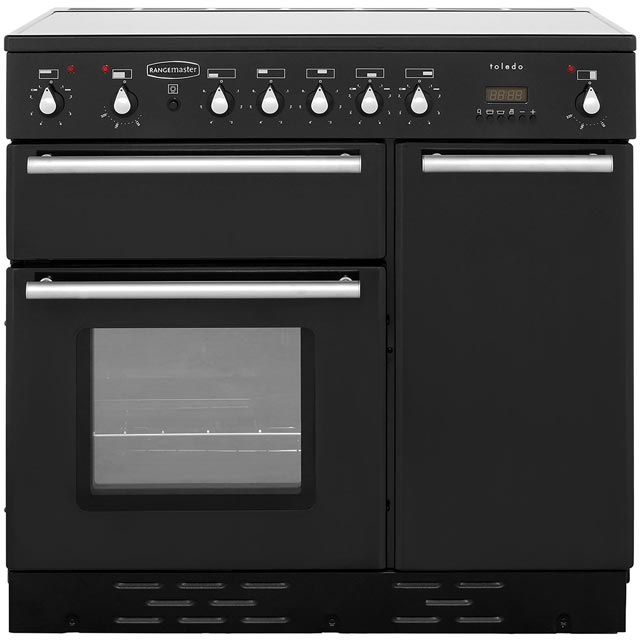 Rangemaster Toledo TOLS90ECGB 90cm Electric Range Cooker with Ceramic Hob - Black/Satin - A Rated - TOLS90ECGB_BK - 1