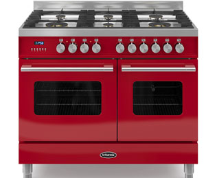 Britannia Delphi 100cm Dual Fuel Range Cooker - Red - A/A Rated