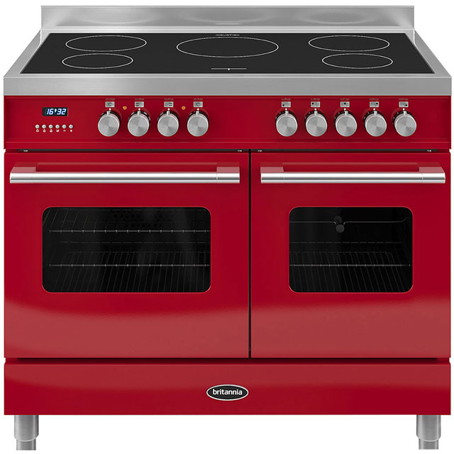 Britannia Delphi RC-10TI-DE-RED 100cm Electric Range Cooker with Induction Hob - Red - A/A Rated - RC-10TI-DE-RED_RD - 1