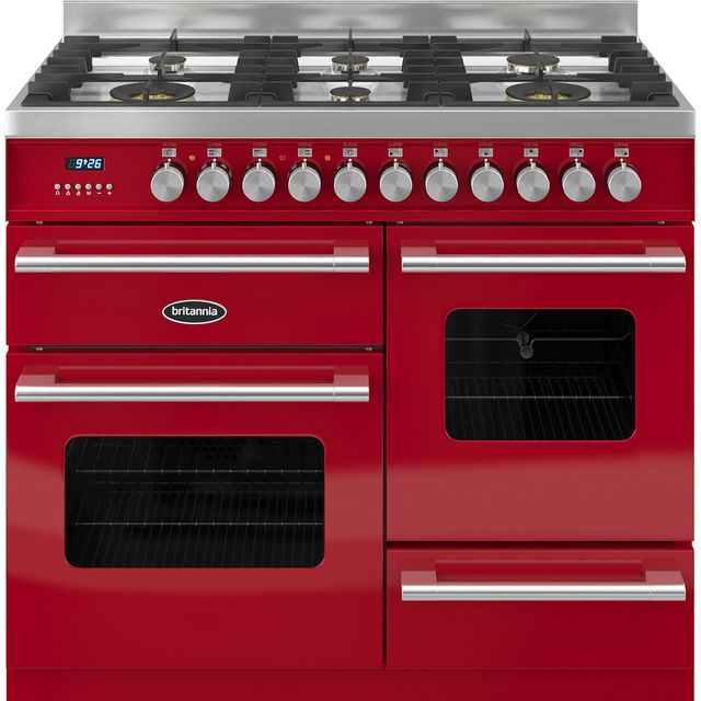 Britannia Delphi RC-10XGG-DE-RED 100cm Dual Fuel Range Cooker - Red - A/A Rated - RC-10XGG-DE-RED_RD - 1