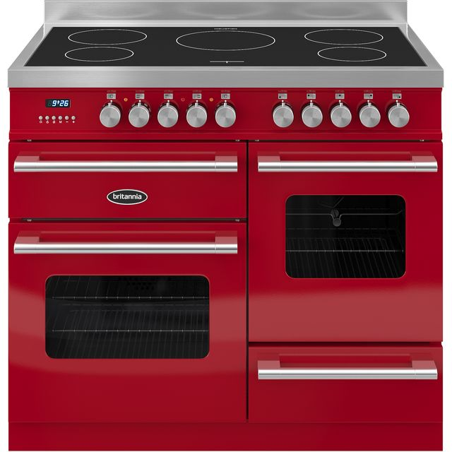 Britannia Delphi RC-10XGI-DE-RED 100cm Electric Range Cooker with Induction Hob - Red - A/A Rated - RC-10XGI-DE-RED_RD - 1