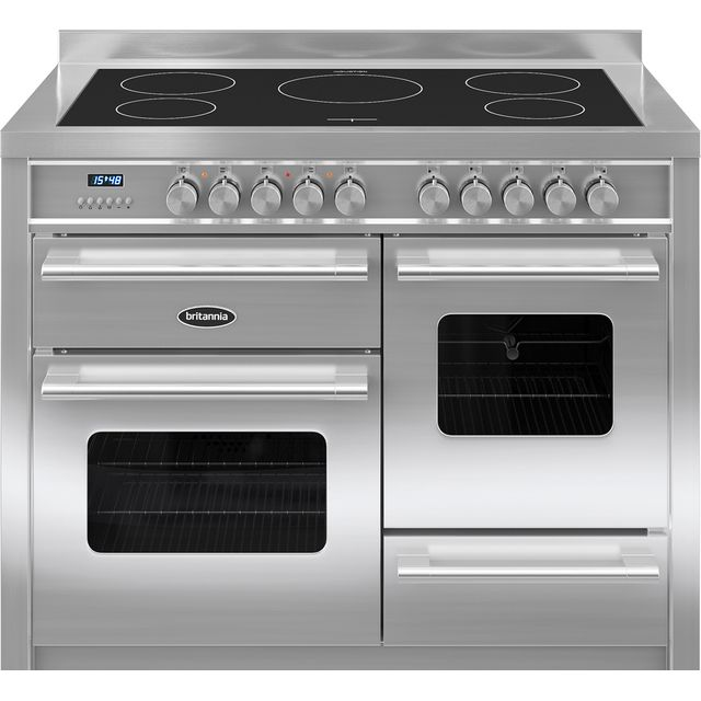 Britannia Delphi RC-11XGI-DE-S 110cm Electric Range Cooker with Induction Hob - Stainless Steel - A/A Rated - RC-11XGI-DE-S_SS - 1