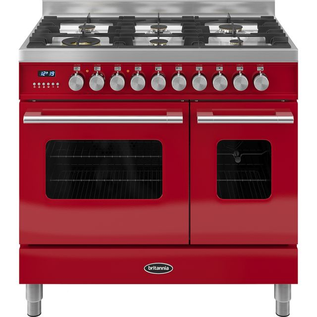 Britannia Delphi RC-9TG-DE-RED 90cm Dual Fuel Range Cooker - Red - A/A+ Rated