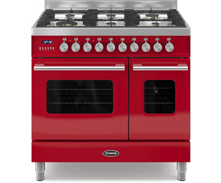 Britannia Delphi RC-9TG-DE-RED 90cm Dual Fuel Range Cooker - Red - A/A+ Rated - RC-9TG-DE-RED_RD - 1