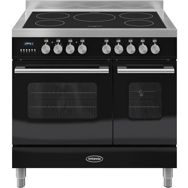 Britannia Delphi RC-9TI-DE-K 90cm Electric Range Cooker with Induction Hob - Black - A/A+ Rated - RC-9TI-DE-K_BK - 1
