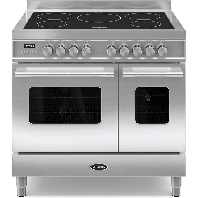 Britannia Delphi RC-9TI-DE-S 90cm Electric Range Cooker with Induction Hob - Stainless Steel - A/A+ Rated - RC-9TI-DE-S_SS - 1