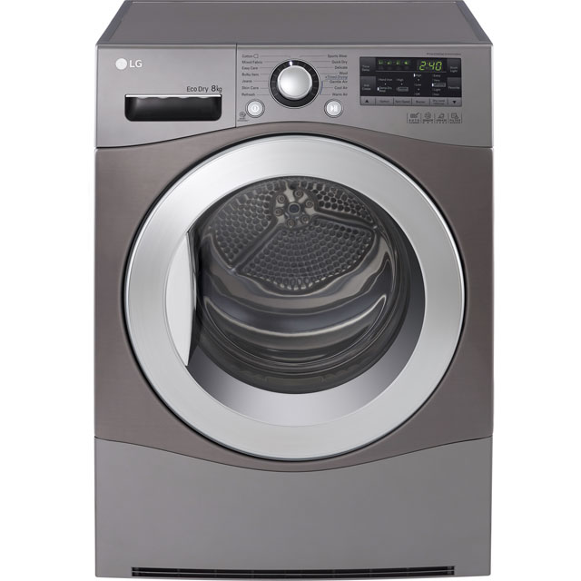LG Eco Jupiter™ Free Standing Condenser Tumble Dryer in Steel