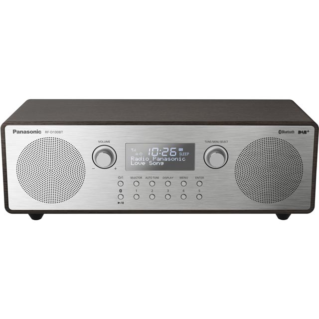 Panasonic RF-D100BTEBT DAB / DAB+ Digital Radio with FM Tuner - Aluminium / Dark Wood - RF-D100BTEBT - 1