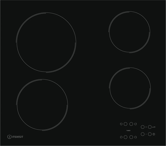 Indesit RI161C Built In Ceramic Hob - Black - RI161C_BK - 1