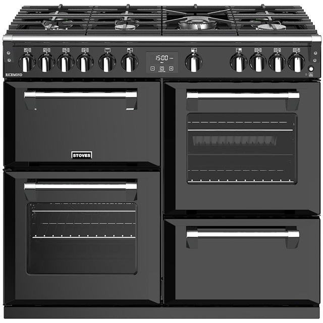 Stoves Richmond S1000G 100cm Gas Range Cooker with Electric Grill - Black - A/A/A+ Rated - Richmond S1000G_BK - 1