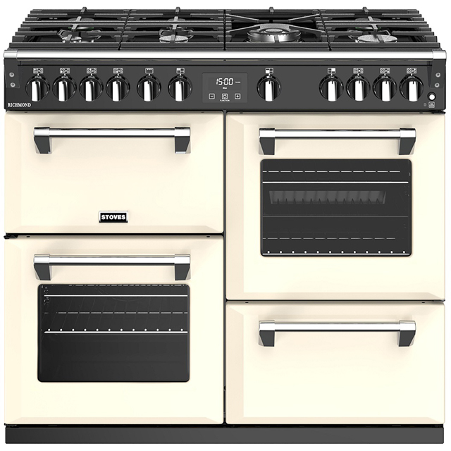 Stoves Richmond S1000G 100cm Gas Range Cooker with Electric Grill - Cream - A/A/A+ Rated - Richmond S1000G_CR - 1