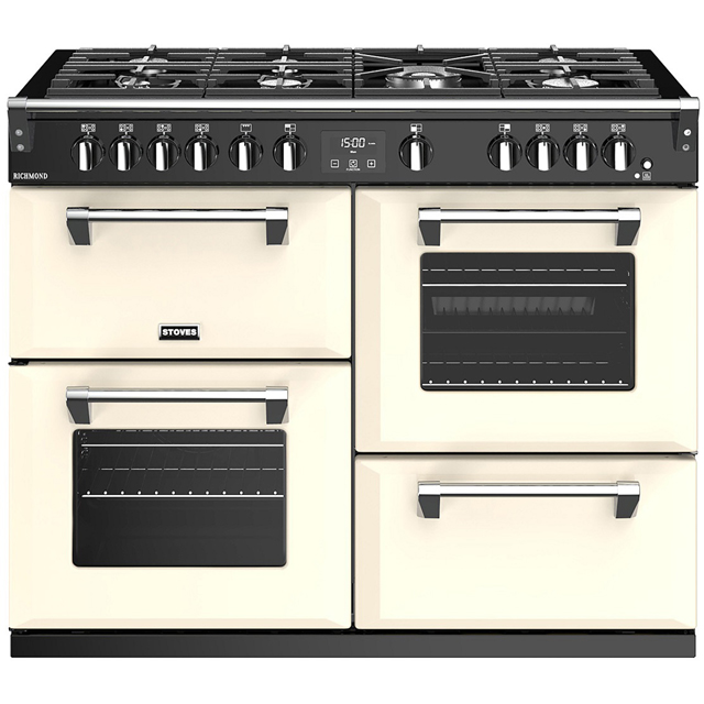 Stoves Richmond S1100G 110cm Gas Range Cooker with Electric Grill - Cream - A/A/A Rated - Richmond S1100G_CR - 1