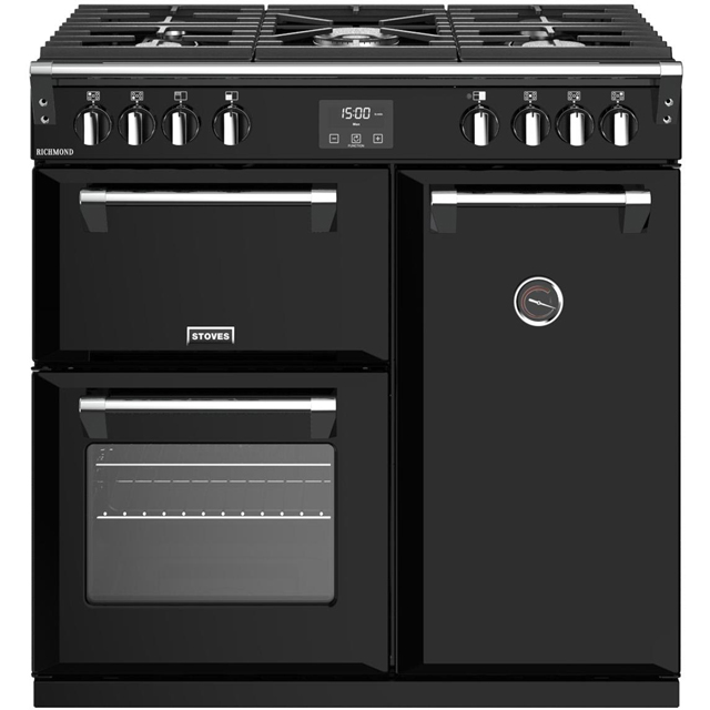 Stoves Richmond S900G 90cm Gas Range Cooker with Electric Fan Oven - Black - A/A Rated - Richmond S900G_BK - 1