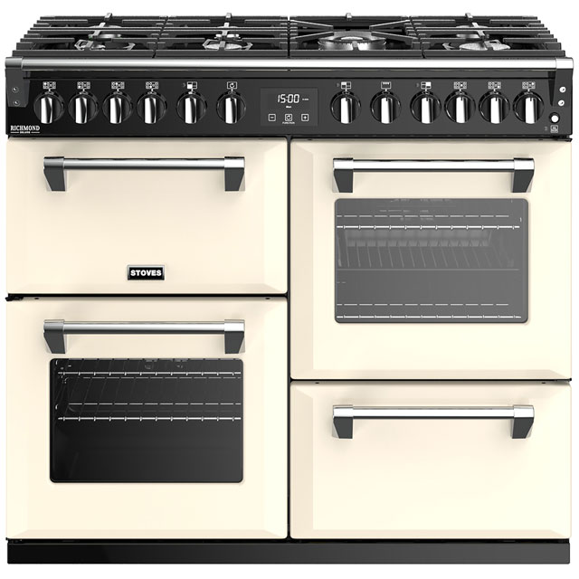 Stoves Richmond Deluxe S1000DF 100cm Dual Fuel Range Cooker - Cream - A/A/A Rated - Richmond Deluxe S1000DF_CR - 1