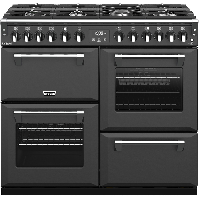 Stoves Colour Boutique Collection Richmond Deluxe S1000DF CB 100cm Dual Fuel Range Cooker - Anthracite - A/A/A Rated