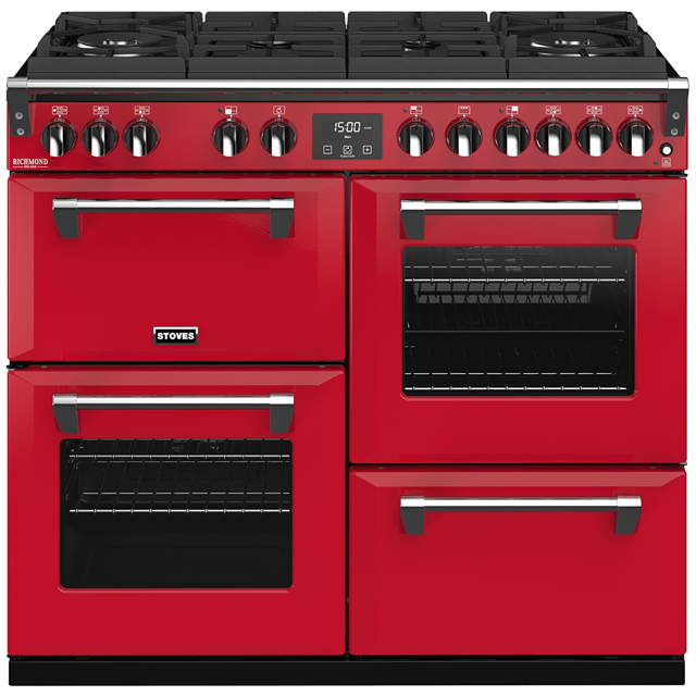 Stoves Colour Boutique Collection Richmond Deluxe S1000DF CB 100cm Dual Fuel Range Cooker - Hot Jalapeno - A/A/A Rated
