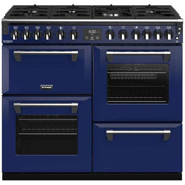 Stoves Colour Boutique Collection Richmond Deluxe S1000DF CB 100cm Dual Fuel Range Cooker - Midnight Gaze - A/A/A Rated - Richmond Deluxe S1000DF CB_MG - 1