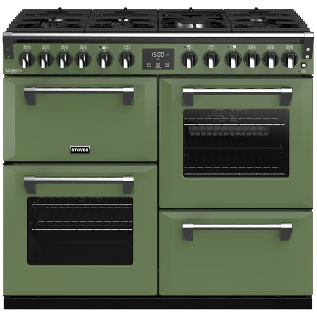 Stoves Colour Boutique Collection Richmond Deluxe S1000DF CB 100cm Dual Fuel Range Cooker - Soho Green - A/A/A Rated - Richmond Deluxe S1000DF CB_SGN - 1
