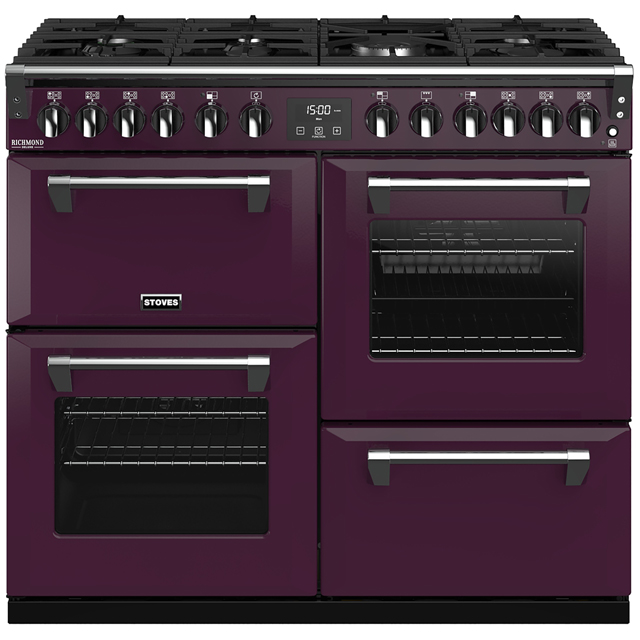 Stoves Colour Boutique Collection Richmond Deluxe S1000DF CB 100cm Dual Fuel Range Cooker - Wild Berry - A/A/A Rated - Richmond Deluxe S1000DF CB_WB - 1