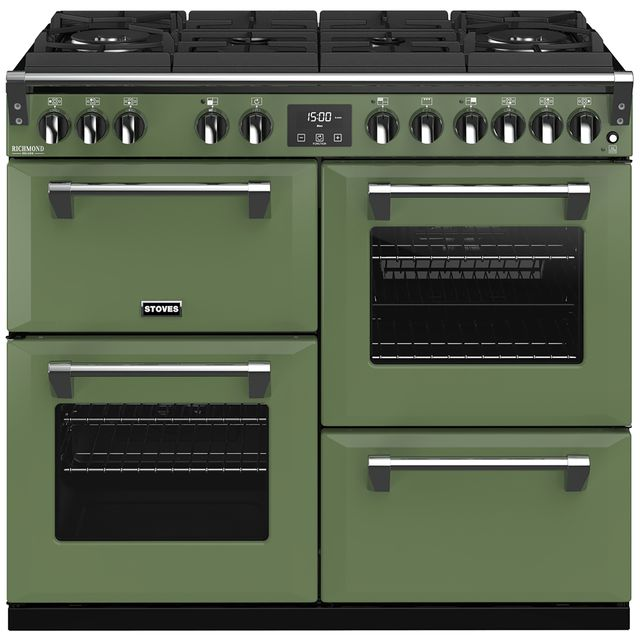 Stoves Colour Boutique Collection Richmond Deluxe S1000DF GTG CB 100cm Dual Fuel Range Cooker - Soho Green - A/A/A Rated - Richmond Deluxe S1000DF GTG CB_SGN - 1