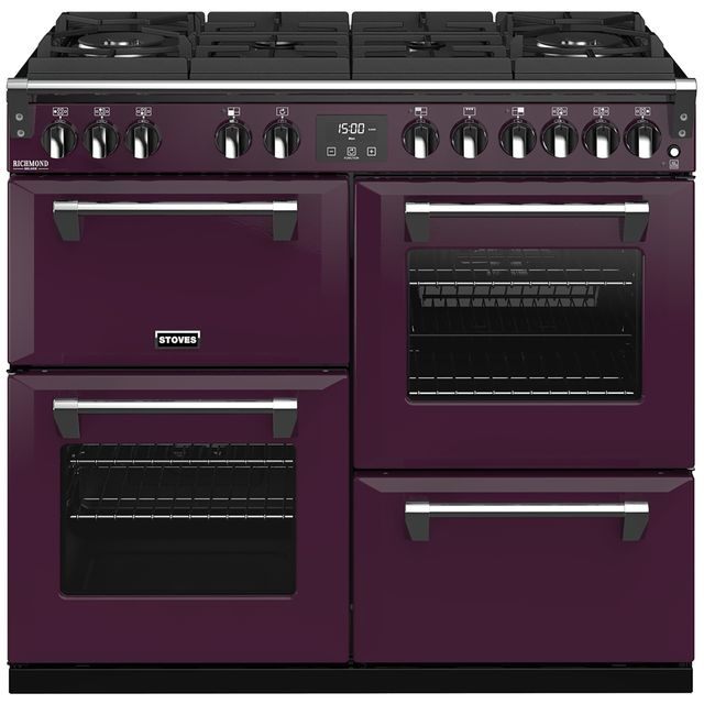 Stoves Colour Boutique Collection Richmond Deluxe S1000DF GTG CB 100cm Dual Fuel Range Cooker - Wild Berry - A/A/A Rated