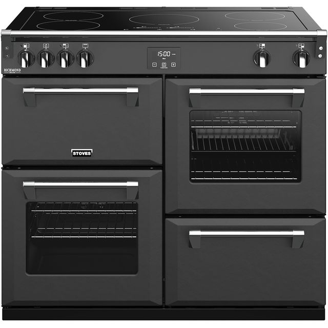 Stoves Colour Boutique Collection Richmond Deluxe S1000Ei CB 100cm Electric Range Cooker with Induction Hob - Anthracite - A/A/A Rated - Richmond Deluxe S1000Ei CB_AN - 1