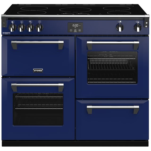 Stoves Colour Boutique Collection Richmond Deluxe S1000Ei CB 100cm Electric Range Cooker with Induction Hob - Midnight Gaze - A/A/A Rated - Richmond Deluxe S1000Ei CB_MG - 1
