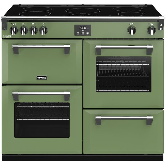 Stoves Colour Boutique Collection Richmond Deluxe S1000Ei CB 100cm Electric Range Cooker with Induction Hob - Soho Green - A/A/A Rated - Richmond Deluxe S1000Ei CB_SGN - 1