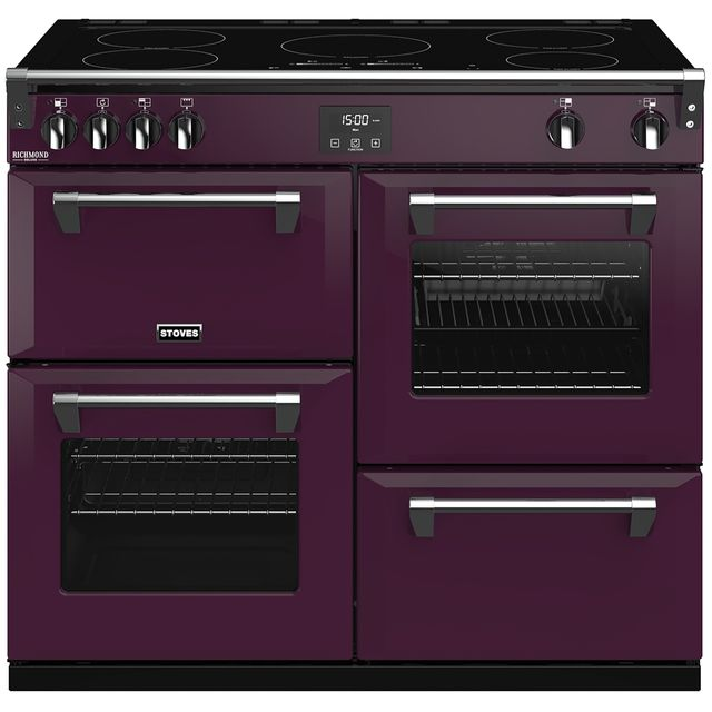 Stoves Colour Boutique Collection Richmond Deluxe S1000Ei CB 100cm Electric Range Cooker with Induction Hob - Wild Berry - A/A/A Rated - Richmond Deluxe S1000Ei CB_WB - 1