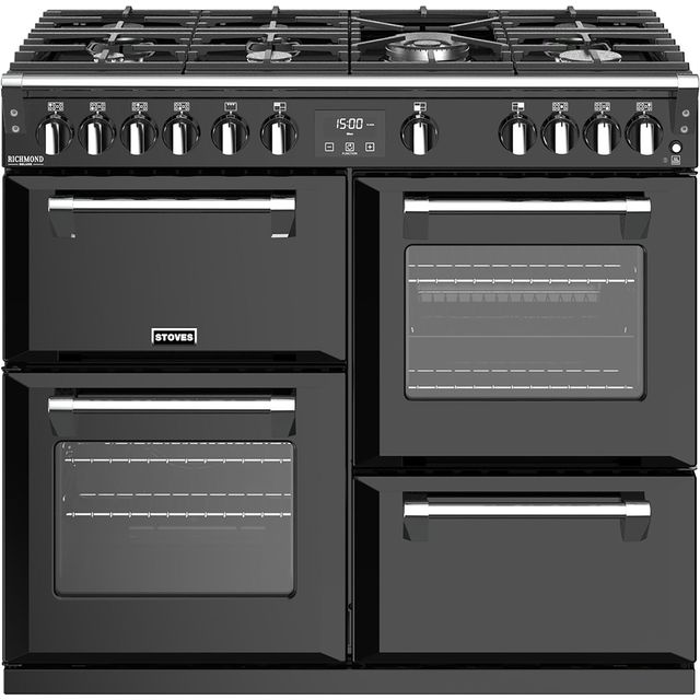 Stoves Richmond Deluxe S1000G 100cm Gas Range Cooker with Electric Grill - Black - A+/A/A Rated - Richmond Deluxe S1000G_BK - 1