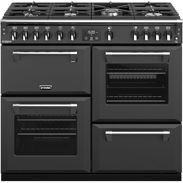 Stoves Colour Boutique Collection Richmond Deluxe S1000G CB 100cm Gas Range Cooker with Electric Grill - Anthracite - A+/A/A Rated - Richmond Deluxe S1000G CB_AN - 1