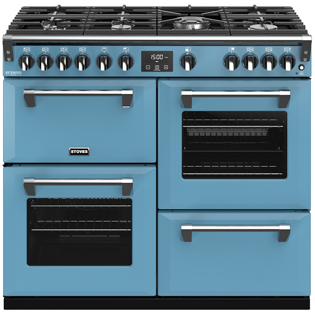 Stoves Colour Boutique Collection Richmond Deluxe S1000G CB 100cm Gas Range Cooker with Electric Grill - Days Break - A/A/A Rated - Richmond Deluxe S1000G CB_DB - 1