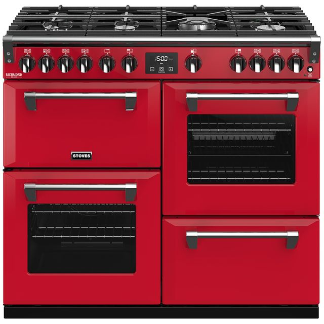 Stoves Colour Boutique Collection Richmond Deluxe S1000G CB 100cm Gas Range Cooker with Electric Grill - Hot Jalapeno - A/A/A Rated - Richmond Deluxe S1000G CB_HJA - 1