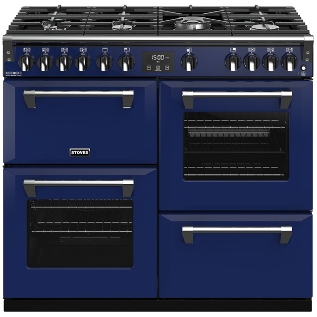 Stoves Colour Boutique Collection Richmond Deluxe S1000G CB 100cm Gas Range Cooker with Electric Grill - Midnight Gaze - A+/A/A Rated - Richmond Deluxe S1000G CB_MG - 1