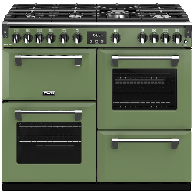 Stoves Colour Boutique Collection Richmond Deluxe S1000G CB 100cm Gas Range Cooker with Electric Grill - Soho Green - A/A/A Rated - Richmond Deluxe S1000G CB_SGN - 1