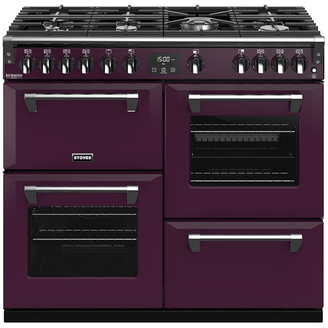Stoves Colour Boutique Collection Richmond Deluxe S1000G CB 100cm Gas Range Cooker with Electric Grill - Wild Berry - A/A/A Rated - Richmond Deluxe S1000G CB_WB - 1