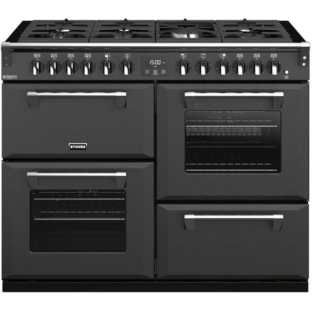 Stoves Colour Boutique Collection Richmond Deluxe S1100DF CB 110cm Dual Fuel Range Cooker - Anthracite - A/A/A Rated - Richmond Deluxe S1100DF CB_AN - 1