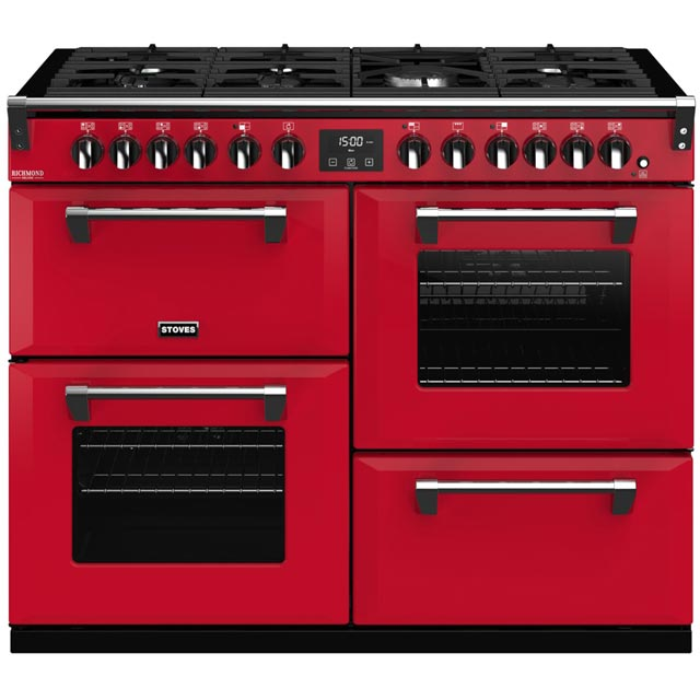 Stoves Colour Boutique Collection Richmond Deluxe S1100DF CB 110cm Dual Fuel Range Cooker - Hot Jalapeno - A/A/A Rated - Richmond Deluxe S1100DF CB_HJA - 1