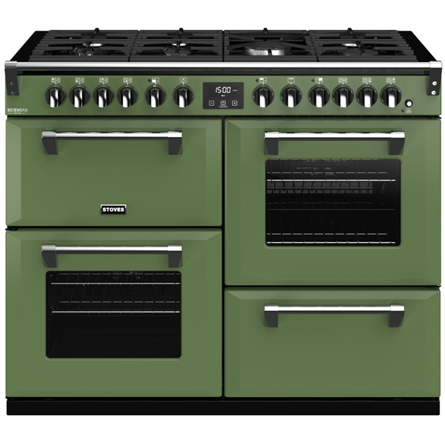Stoves Colour Boutique Collection Richmond Deluxe S1100DF CB 110cm Dual Fuel Range Cooker - Soho Green - A/A/A Rated - Richmond Deluxe S1100DF CB_SGN - 1