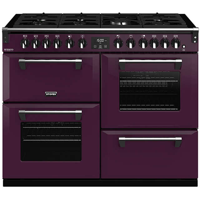 Stoves Colour Boutique Collection Richmond Deluxe S1100DF CB 110cm Dual Fuel Range Cooker - Wild Berry - A/A/A Rated - Richmond Deluxe S1100DF CB_WB - 1